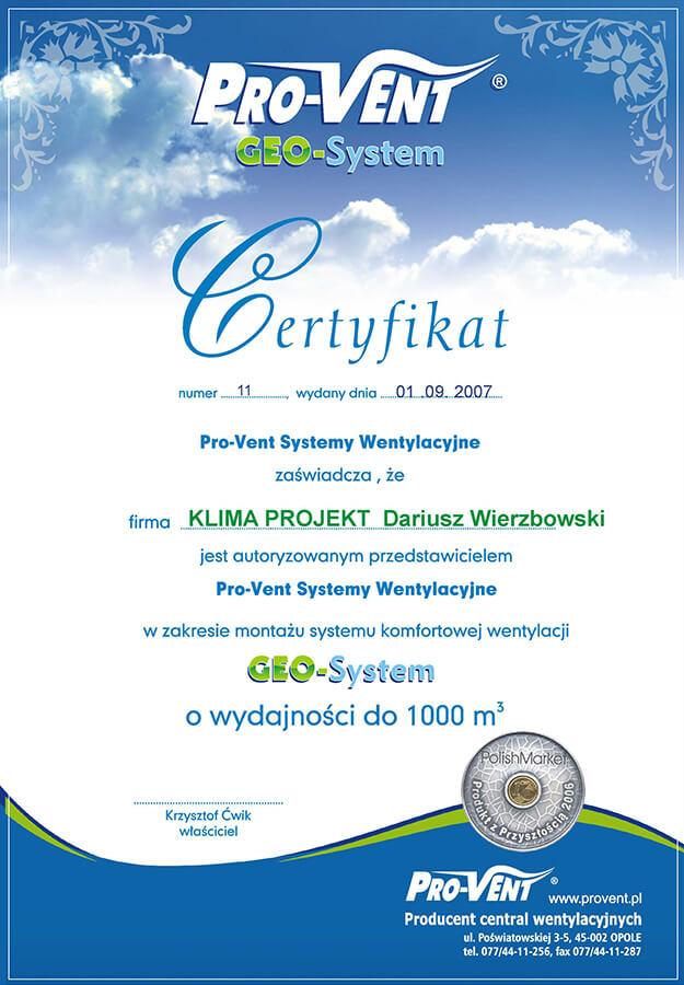 klima-projekt-certyfikat-geo-system