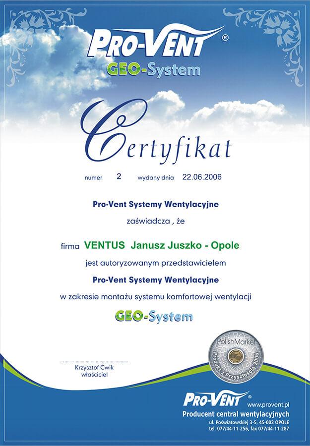 ventus-certyfikat-geo-system